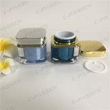 Frasco de creme acrílico quadrado da série 50g com o tampão do ouro/tira para o empacotamento do cosmético (PPC-ACJ-081)
