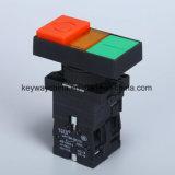 Тип загоранный квадратом переключатель кнопка с красным/зеленым цветом