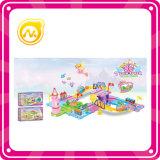 Het grappige Kasteel van de Prinses met het Lichte Vastgestelde Stuk speelgoed van het Spel van de Blokken van de Trein