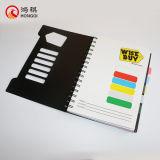 Cuaderno espiral de la cubierta negra de los PP