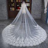 Вуаль оптового венчания Bridal длинняя с широким шнурком Applique