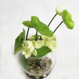 Decoración artificial del loto blanco con el crisol del vidrio de agua del Faux