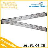 Super Slim 75W 2A 0-10V Dimming Driver LED com configuração de resistência externa atual