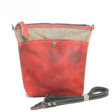 Waterproof Canvas Girl Wax Canvas Fabric Shoulder Shopping Leather Bag (RS - 6008)