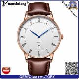 Relógios do negócio da tâmara da cinta de couro do relógio das mulheres do Mens de quartzo do negócio de forma do projeto simples do estilo de Yxl-309 Dw
