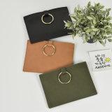普及した金属のリング袋PUの女性のハンドバッグのクラッチ・バッグの余暇様式の革ハンドバッグ