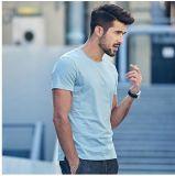 Chemises 100% d'été de coton d'OEM pour le T-shirt rond de chemise de circuit de collet d'illustrations des hommes