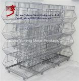 Soporte amontonable de la cesta del almacenaje de la visualización del alambre multi de las gradas