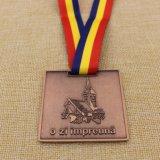 Medaglia su ordinazione di Marthon del bronzo dell'oggetto d'antiquariato del metallo con il nastro su ordinazione