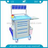 AG-At001A1 Ce&ISO 4 Wielen Vier het Karretje van het Ziekenhuis van de Kolommen van het Aluminium