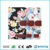 Caja del teléfono móvil del cuero de la tela de la flor