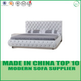 Modernes Hauptfreizeit-echtes Leder-doppeltes Bett