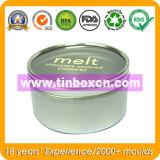 Contenitore rotondo del metallo con il commestibile, contenitore di stagno