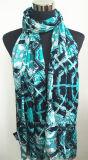 最も売れ行きの良い女性Green Geometic Printed Viscoseのストール/スカーフ(HWBVS29)