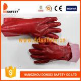 Il PVC di colore rosso di Ddsafety 2017 completamente ha tuffato la manopola del Knit della fodera dell'interruttore di sicurezza dei guanti