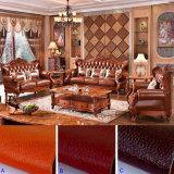 Ledernes Sofa mit hölzernem Wagen-Aufenthaltsraum für Wohnzimmer-Möbel