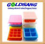 Bandeja del congelador del silicón para los alimentos para niños con el sostenedor