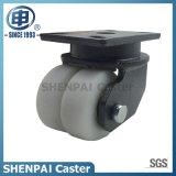 """4 """" ruedas de nylon blancas dobles resistentes del echador del eslabón giratorio"""