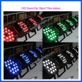 Etapa de iluminación LED PAR zoom cubierta 18PCS * 18W Luz