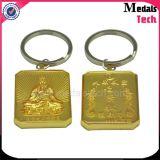 Custom Supply Aluminium Casting Gold Square Logo de bouddhisme gravé Keychain
