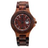 Relógio de madeira saudável do Sandalwood vermelho do fecho