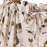 워드 어깨 여름 여자 시퐁 셔츠 꽃 블라우스 4 크기 바닷가 피복 인쇄
