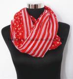 Silk Imitation Dots & Stripe Joint Printing Chiffon Tublar Scarf (HWBPS096)