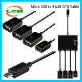 Micro USB aan de Adapter van de Hub OTG van de Last en van Gegevens 4*USB