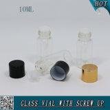 fiala di vetro della radura di figura del cilindro 10ml con il coperchio a vite di alluminio