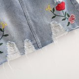 Fashion Women Preppy Style Rose broderie Denim Hole jupe robe