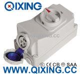 Zoccolo blu di IEC 16A 3p con l'interruttore