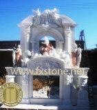 Mantel découpé par marbre /Stone de cheminées en pierre découpant le mantel en pierre