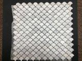 Tuile de mosaïque de marbre blanche d'échelle de poissons de l'Italie Bianco Carrera mini