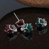 여자 925의 순은 Fox - 모양 귀걸이 상감세공 녹색과 빨강 마노