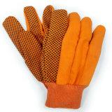 Зашитая поставленная точки PVC перчатка хлопка холстины работая