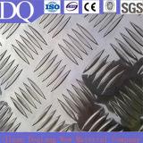 1050, 3003, 3105 Vijf de Staaf In reliëf gemaakte Geruite Plaat van het Aluminium
