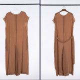 Calças frouxas de seda do estilo da forma para calças do lazer da mulher