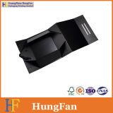 Rectángulo de papel de la PU del conjunto plegable negro de lujo del bolso