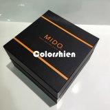 Boîte-cadeau noire d'emballage de papier de montre de chapeau de carton de qualité