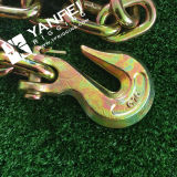 Yellow Zinc Plated Grade 70 Tie Down Chain com Gancho