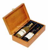 Het aangepaste Embleem drukte de Houten Verpakkende Doos van de Wijn met het Verschillende Eindigen af