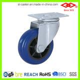 125mm Schwenker-Platte mit Bremsen-blauer elastischer Gummifußrolle (P120-33D125X35S)