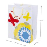 Grands sacs de cadeau, chevrons jaunes et fleurs avec des guindineaux, sacs à provisions,