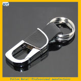 Couro relativo à promoção Carabiner Keychain do gancho do metal da prata da liga do zinco da cinta de couro do preto do homem de negócio