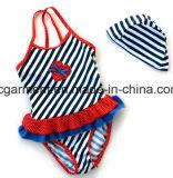 美しい子供のレースの水着、ワンピースのGirl' Sの水泳の摩耗