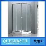 Quarto de chuveiro do canto incluido do quarto de chuveiro único