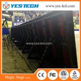 A cor cheia ao ar livre do estádio que anuncia o perímetro ostenta o sinal do indicador de diodo emissor de luz
