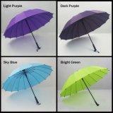 ゴルフ傘の固体防風のまっすぐなハンドルの反紫外線ガラス繊維の肋骨