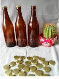 11oz 22ozの王冠またはねじ帽子が付いているこはく色のガラスビール瓶