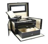 Caixa de jóia de couro preta com espelho do fechamento e mini caso do curso